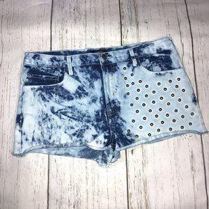 Forever 21 Tie Dye Studded Denim Cutoff Shorts 30